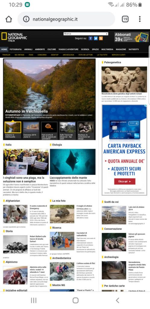 Home Page errori National Geographic